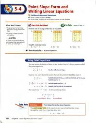 writing linear equations from a table point slope form and writing linear equations pdf