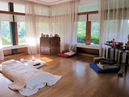 white sheer curtain for modern meditation room ideas with wooden