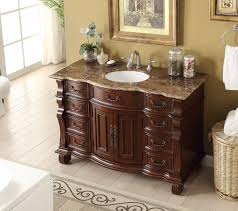 Used Faucets Endearing Small Antique Bathroom Vanity With Cream Marble Top Used