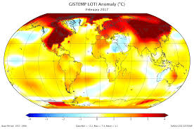 World Temperatures Map by Data Giss Gistemp Update February 2017 Was Second Warmest