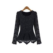 aokin women scoop neck long sleeve lace tunics blouse top at