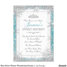 Sweet 16 Birthday Invitation Cards Teal Blue Silver Winter Wonderland Sweet 16 Invitations Pretty