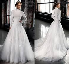 discount 2016 new designer modest wedding dresses with sleeves
