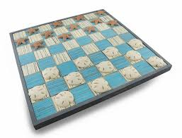 amazon com blue white wooden checkerboard game w sand dollar and
