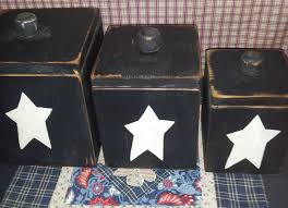 primitive kitchen canister set handmade wood black distressed