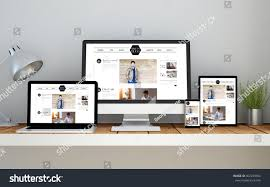 home design 3d tablet computer laptop smartphone tablet on desktop stock illustration