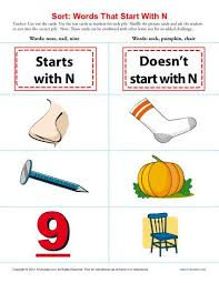 words starting with letter n beginning consonant worksheets