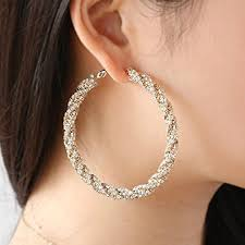 hoop earings unique twisted hoop earrings with premium cz 40mm