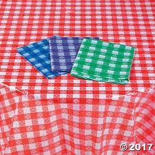 checkered plastic tablecloth assortment