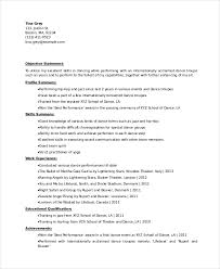 Resume Profile Summary Samples by Download Dance Resume Templates Haadyaooverbayresort Com