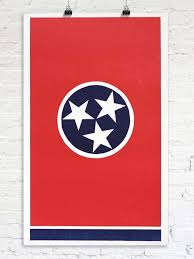 Timbers Flag Grand Old Tennessee Flag Tennessee Letterpress Print U2013 Old Try