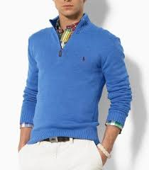polo ralph lauren cotton half zip sweater in blue man style