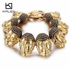 gold lucky bracelet images Kalen classic buddha head charm bracelets bangles stainless jpg