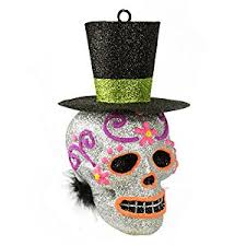 6 day of the dead silver glitter drenched skull with