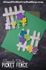 popsicle stick picket fence kid craft craft spring and easter