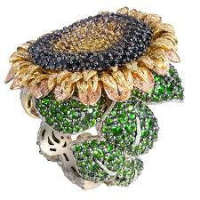 sunflower engagement ring tsavorite gold sunflower ring by alex soldier handmade in
