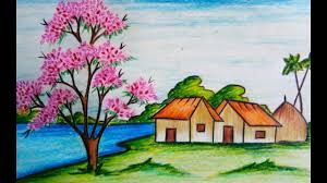 how to draw scenery of spring season step by step easy drawing