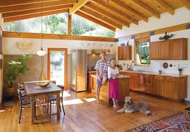 awesome natural kitchen ideas with wooden floor and tile