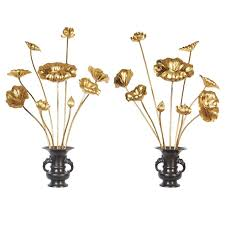 Japanese Flower Vases Exceptional Set Of 18 Japanese Temple Flowers In Bronze Vases Edo