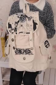 Apricot Fashional DIY Japanese Cartoon Canvas Travel Backpacks for