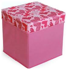 love heart pink square foldable storage ottoman storage boxes