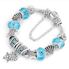 pandora glass bracelet images Hot fashion heart key tortoise charm bracelet blue crystal glass jpg