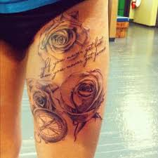 collection of 25 grey ink roses tattoos on thigh for