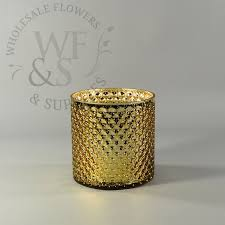 Wholesale Bulk Glass Vases Cylinder Bubbled Mercury Glass Vase In Gold Wholesale Flowers