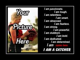 personalized softball custom poster i am a catcher photo quote wall