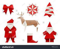 realistic origami christmas set santa deer stock vector 309286844