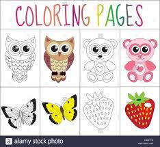 coloring book page set animals collection sketch and color