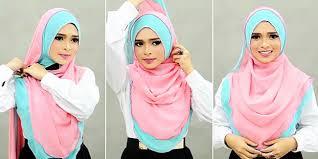 tutorial jilbab dua jilbab tutorial memakai hijab menutup dada modern dua warna