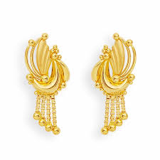 earrings in grt earrings gold feather and balls earrings grt jewellers