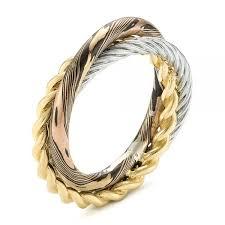 braided wedding bands custom braided mokume white and yellow gold wedding band 103986