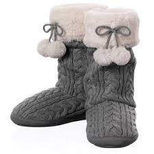 womens knit boots boot slippers cable knit pom boot dearfoams womens slipp