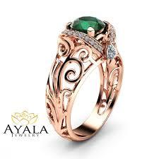 gold art rings images Emerald filigree engagement ring 14k rose gold art deco ring jpg