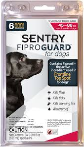 sentry fiproguard flea tick squeeze on for dogs 45 88 lbs 6