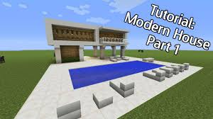 minecraft how to build a modern house with pool part 1 youtube