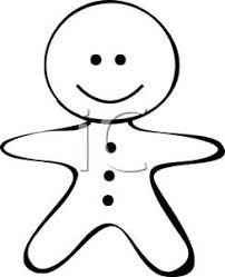 black and white cartoon of a gingerbread man cookie royalty free