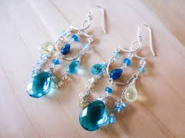 blue chandelier earrings teal blue topaz quartz with aquamarine and sapphires chandelier