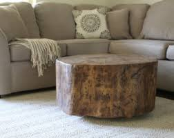 Wood Stump Coffee Table Hand Made Home Decor For Nature Lovers By Outsideinwoodshop