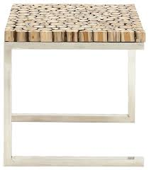 Teak And Stainless Steel Outdoor Furniture by Stainless Steel Teak Wood Side Table Contemporary Outdoor Side