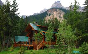 nature landscape mountain trees forest house alberta canada