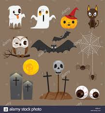 halloween icons set mystery holiday culture october