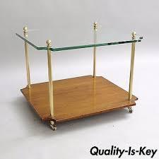 vintage glass table ls vintage modern brass side glass table floor l hollywood regency