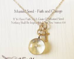 faith of a mustard seed necklace mustard seed charm etsy