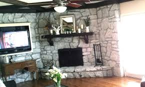 Painted Stone Fireplace Mrs Frog Prince 1970 U0027s Stone Fireplace Makeover