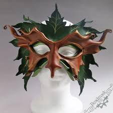 leather mask grandfather greenman leather mask beadmask