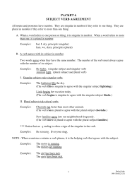 packet6 subject verb agreement grammatical number subject