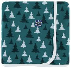 kickee pants print swaddling blanket in cedar christmas trees one